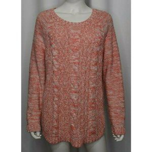 Sonoma Cable Knit White Pink Sweater